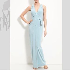 St John Couture Belted Faux Wrap Gown